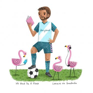 A limited edition We Read in a Flock sticker will be available at games that the Dream Bus is at